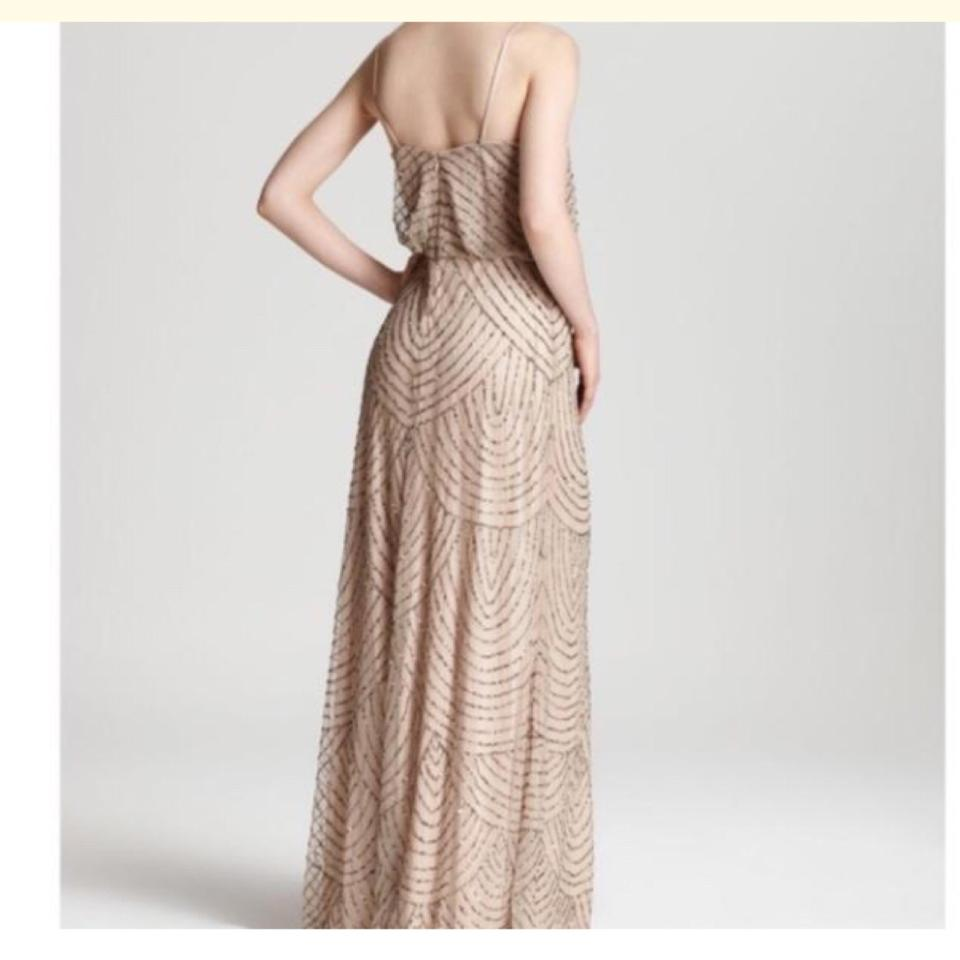 Adrianna Papell New Taupe Pink Art Deco Beaded Blouson Gown Long ...