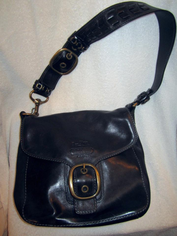 Coach Tattersall Style  f0769-11419 Black Leather Shoulder Bag - Tradesy 12a287099d5a7