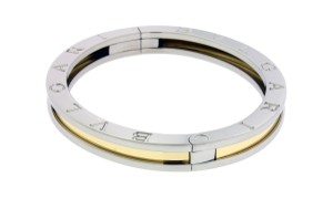 BVLGARI Bvlgari B.ZERO1 hinged bangle in steel & 18k yellow gold
