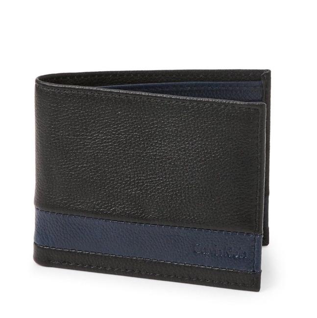 Item - Black / Navy Box New Men's Ck Logo Striped Leather With Wallet
