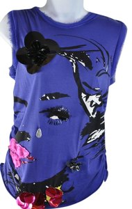 Lanvin Embelished Silk Winking Face Teardrop T Shirt Blue