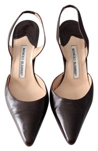 Manolo Blahnik Slingback Leather Brown Pumps