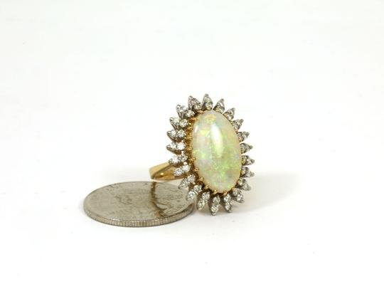 Other Estate 5.90ct Diamond & Fire Opal 14k Gold Large Oval Cocktail Ring