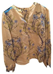 Warm Summer Never Worn Top neutral floral pattern with stripes