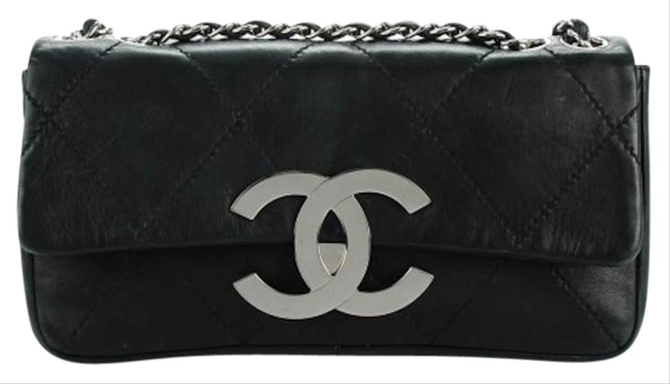 30ce10a6553b Chanel Classic Flap 2.55 Reissue East West XL W E/W Jumbo Cc Logo Diamond  Quilt Stitch Black Lambskin Leather Shoulder Bag