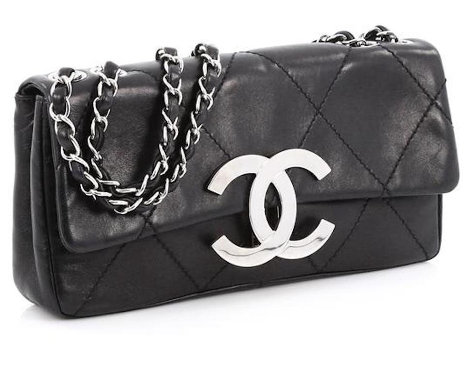 995b841ec5d7 Chanel Classic Flap 2.55 Reissue East West XL W E/W Jumbo Cc Logo Diamond  Quilt Stitch Black Lambskin Leather Shoulder Bag - Tradesy