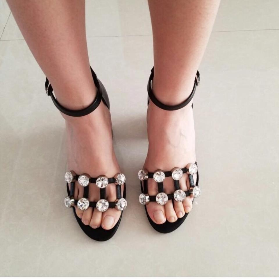 Calf Sandals Wang Alexander Leather Black Abby Embellished nUnzFYd