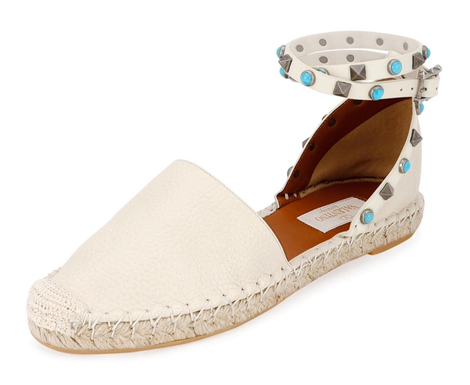 Valentino Light Ivory Espadrilles New Leather Rockstud Rolling Espadrilles Ivory Sandals 77f0e9
