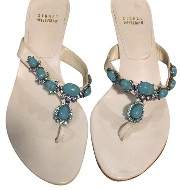 Item - White with Turquoise Stones 2w 85249 Pumps Size US 8 Regular (M, B)