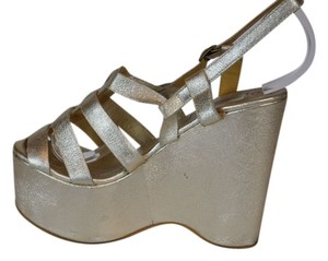 Lanvin Metallic Leather Wedge Gold Wedges