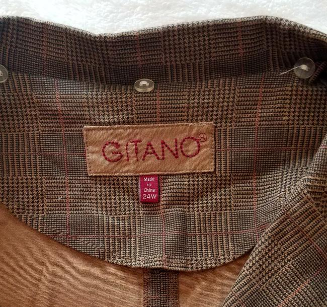 Gitano Plus-size Spring Fall Stretchy Camel with Black and Red Plaid Jacket