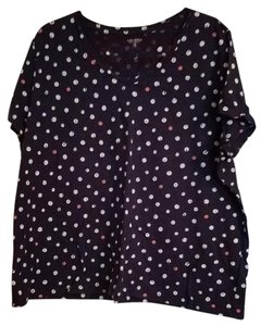 Sonoma Plus-size Summer Spring T Shirt Navy with Pink and White Polka Dots