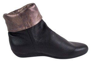 Arche Leather Metallic Cuff Slouchy Black Boots
