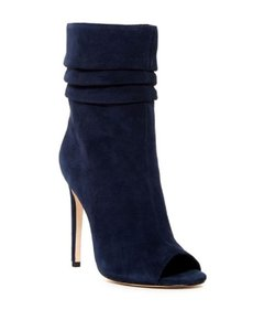 Halston Suede Peep Toe Leather Navy Blue Boots