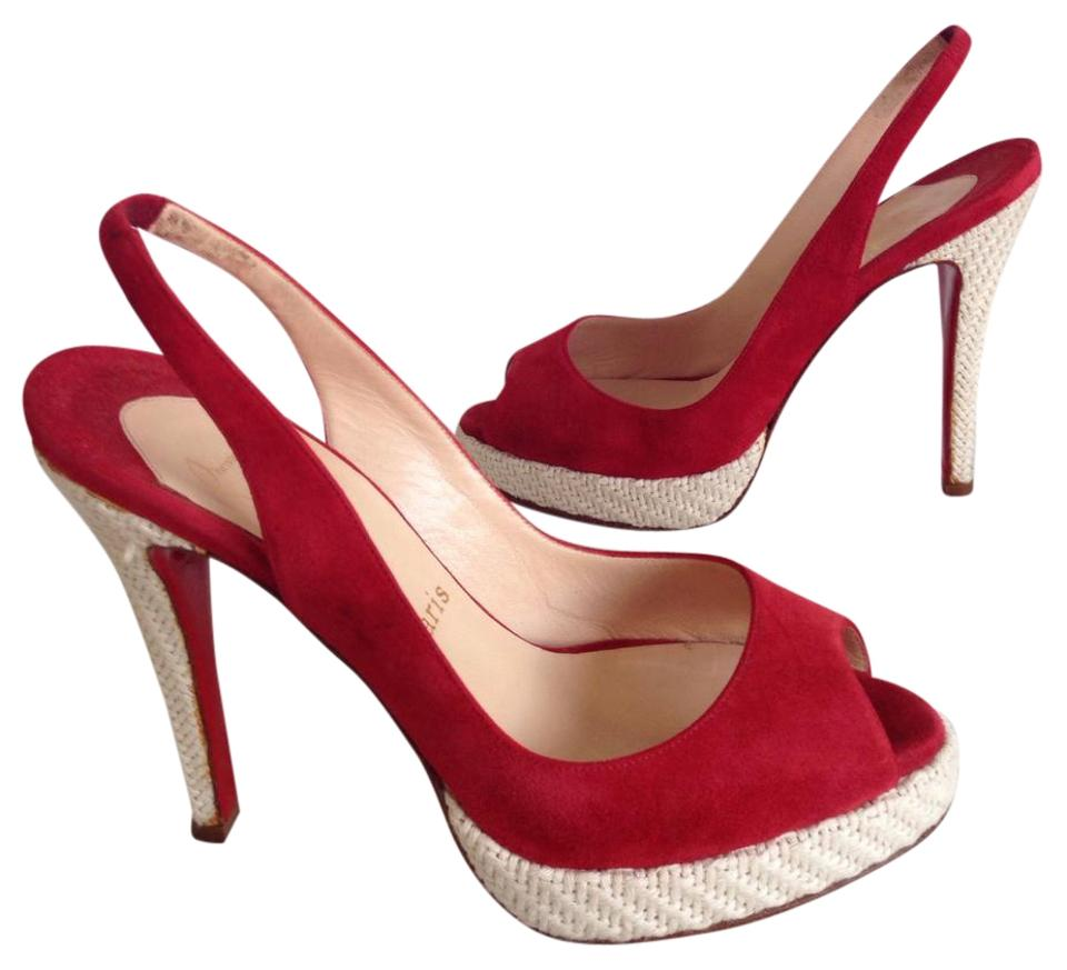 Christian Peep-toe Louboutin Red Peep-toe Christian Pumps Platforms 659e4b