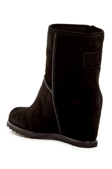 Marc by Marc Jacobs Wedge Suede Leather Fur Black Boots