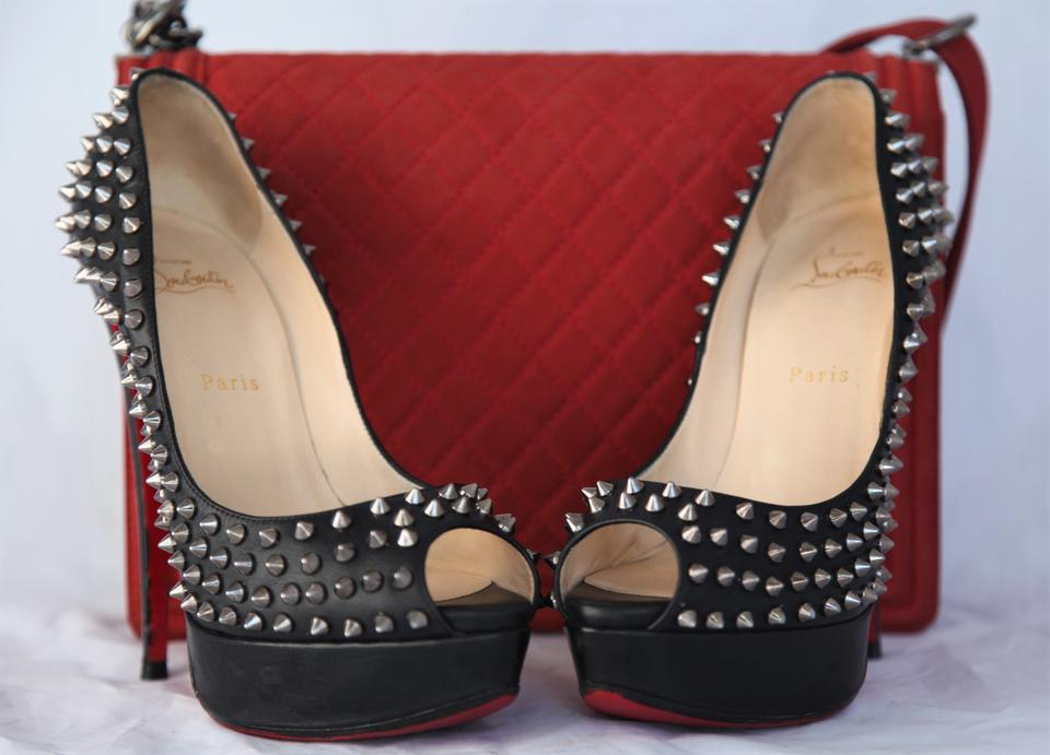 Peep Sole Platform Pumps Red Christian Black Toe Leather Heel Lady Silver Fashion Louboutin Spikes High BBqCzwIn
