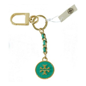 Tory Burch Mercer Leather Inlay Key Fob Turquoise Green Gold Bag Charm