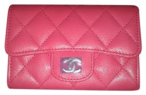 9b5948c2122c Chanel Card Holder Flap Bag Classic CC Logo Timeless Case Quilted Caviar  Pink