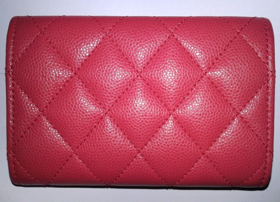 7e36ee719d96f8 Chanel Card Holder Flap Bag Classic CC Logo Timeless Case Quilted Caviar  Pink Image 11. 123456789101112