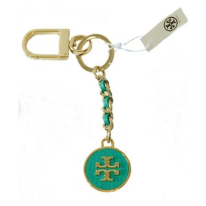 Tory Burch Mercer Leather Inlay Key Fob Turquoise Gold Bag Charm