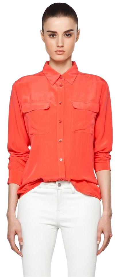 975b84d8e01efb Equipment Red Orange New Slim Signature Silk Shirt Xs Button-down ...