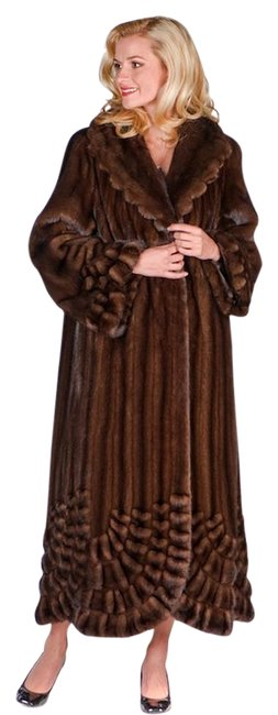 Unbranded Brown Pleated Panorama Genuine Mink Fur Full Length Coat Size 12 (L) Unbranded Brown Pleated Panorama Genuine Mink Fur Full Length Coat Size 12 (L) Image 1