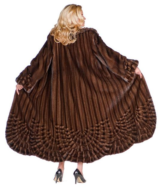 Unbranded Brown Pleated Panorama Genuine Mink Fur Full Length Coat Size 12 (L) Unbranded Brown Pleated Panorama Genuine Mink Fur Full Length Coat Size 12 (L) Image 2