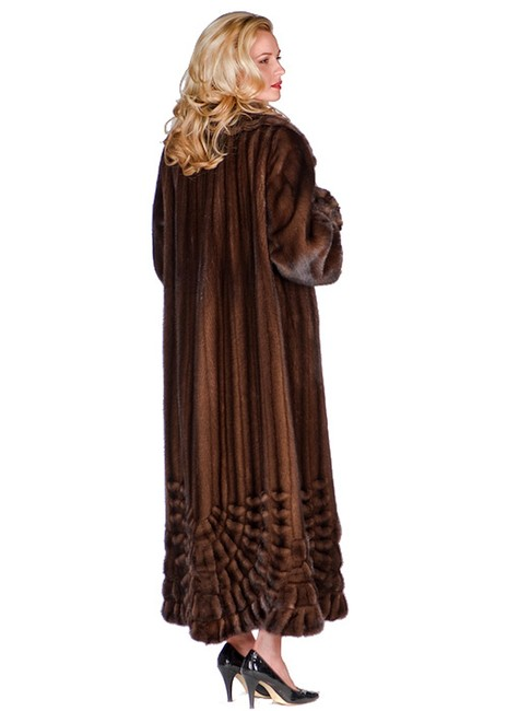 Unbranded Brown Pleated Panorama Genuine Mink Fur Full Length Coat Size 12 (L) Unbranded Brown Pleated Panorama Genuine Mink Fur Full Length Coat Size 12 (L) Image 3