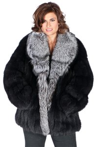 madisonavemall Real Fox Real Fur Silver Fox Fox Silver Fox Black Jacket