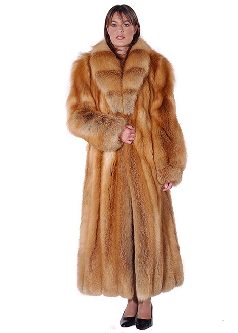 madisonavemall Real Fur Real Fox Red Fox Womens Shawl Collar Coat