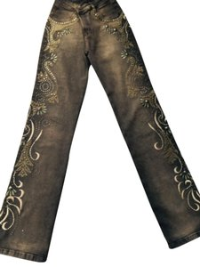 brazilrock Studded Embroidered Boot Cut Jeans-Distressed