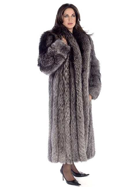 Item - Silver Full Length Real Fox Fur Coat Size 8 (M)