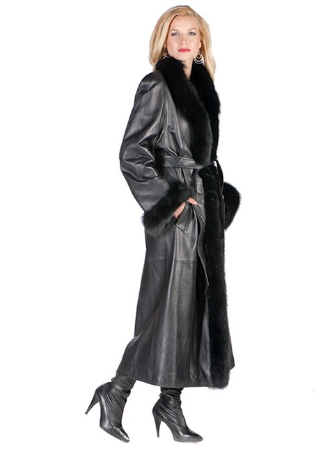 madisonavemall Real Leather Real Fox Fox Trimmed Foc Cuffs Womens Party Wear Coat