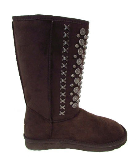 Montana West Western Casual Boho Studded Faux Suede Coffee Boots