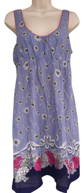 Item - Blue Anthropologie / Periwinkle Floral Sleeveless Mid-length Short Casual Dress Size 8 (M)