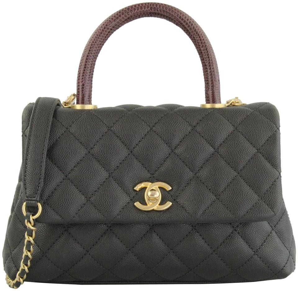 c371d1965d6f Chanel Bag Mini Coco Flap with Top Lizard Handle Black Leather Satchel