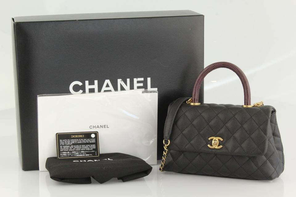 78874754f403 Chanel Mini Coco Top Lizard Satchel in Black Image 11. 123456789101112