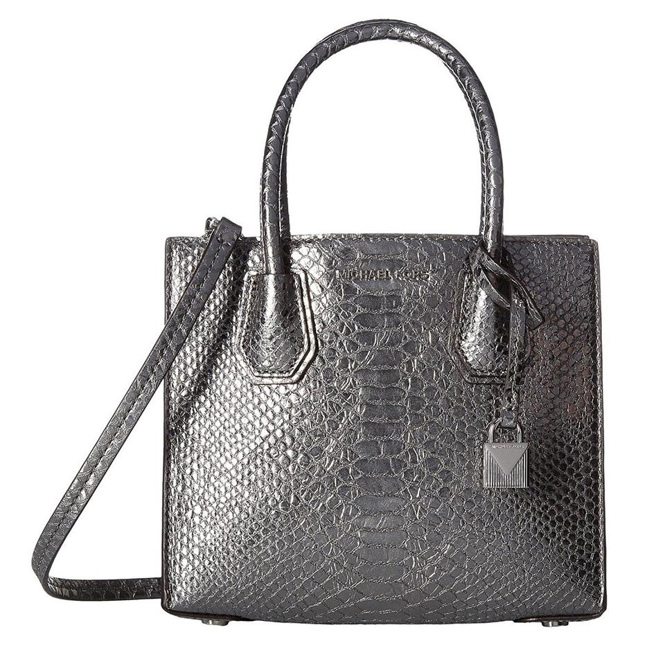 Michael Kors Mercer Tote Leather Pewter Silver Messenger Bag