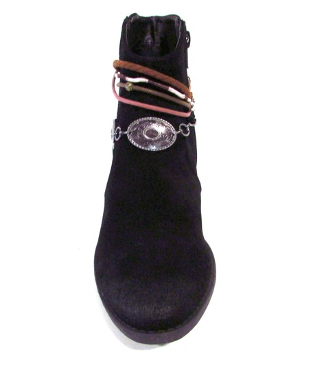 Qupid Boho Western Pull On Casual Embellished Black Boots