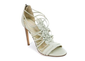 Roberto Cavalli Braided Leather Off Lime Sandals