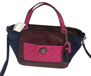 9c553b7a9b3e Coach Cross Body Bag. Coach F49865 Park Color Block Quilted Pink Blue  Leather Suede ...