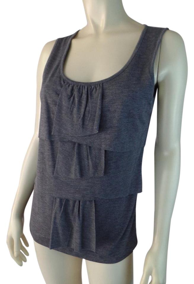 d6943ec59b51be Talbots Gray Heather Stretch Knit Pullover Ruffle Tank Top Cami Size ...