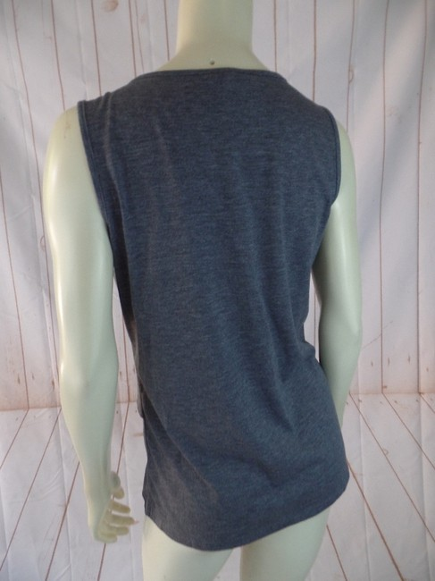 Talbots New Ruffle Raw Edge Sleeveless Pullover Top Gray Heather