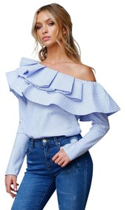 Luxe by StyleKeepers Off The Shoulder Ruffle Sexy Top Blue Pin strip