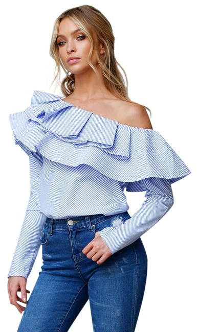 Preload https://img-static.tradesy.com/item/22085743/blue-pin-strip-think-fashion-ruffle-off-the-shoulder-pins-blouse-size-8-m-0-1-650-650.jpg