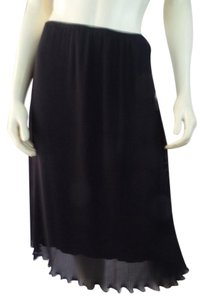 Donna Rae Pleated Elastic Waist Lined Skirt Black