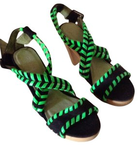 Custo Barcelona Black suede with green trim Platforms