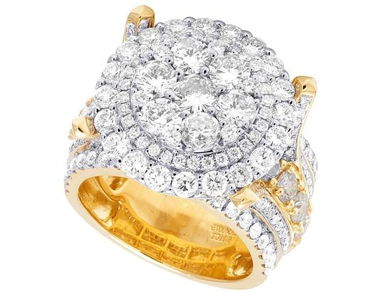Jewelry Unlimited Men's 10K Yellow Gold Diamond Cluster Pinky Ring 6.11 CT 19MM