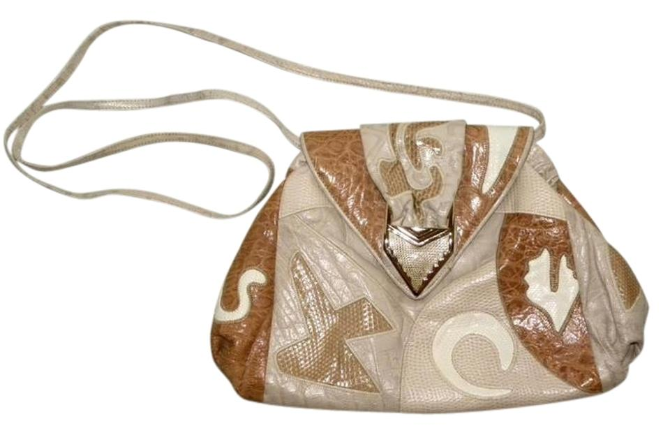 8d0a33b8a0a553 Sharif Clutch Vintage 1980s Patchwork Taupe Beige and White Leather ...